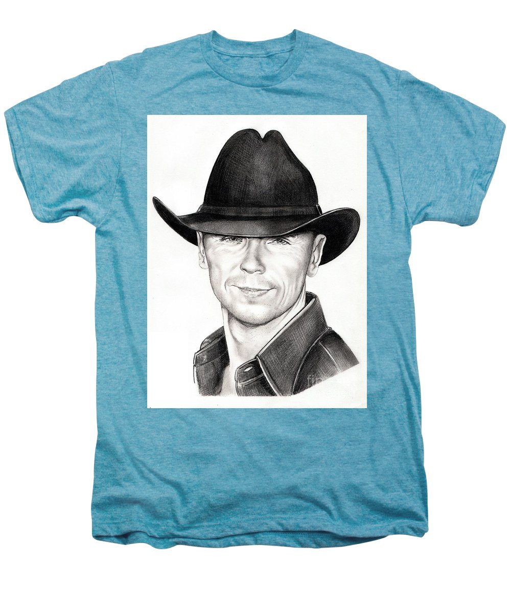 Portrait Men's Premium T-Shirt featuring the drawing Kenny Chesney by Murphy Elliott