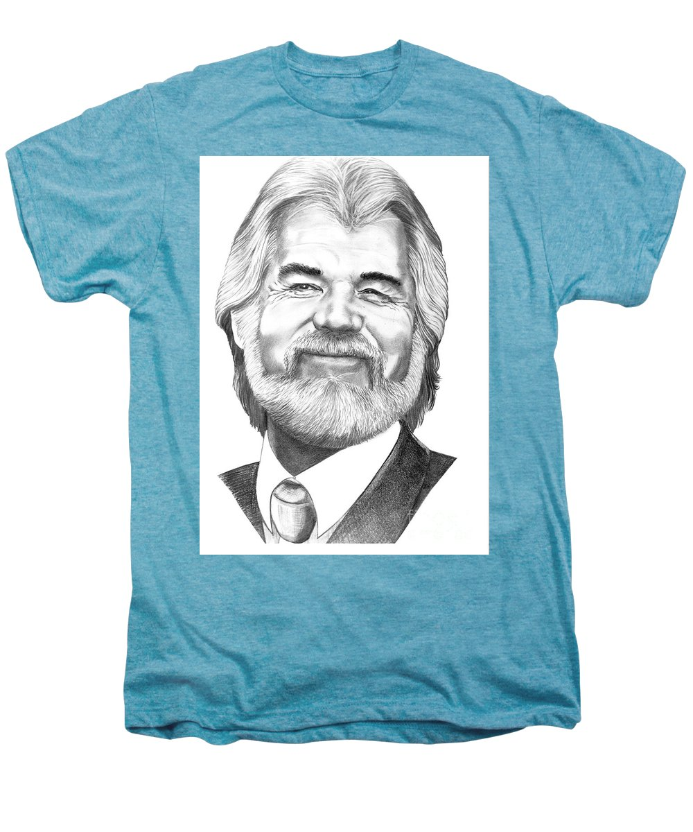Music Men's Premium T-Shirt featuring the drawing Kenny Rogers by Murphy Elliott