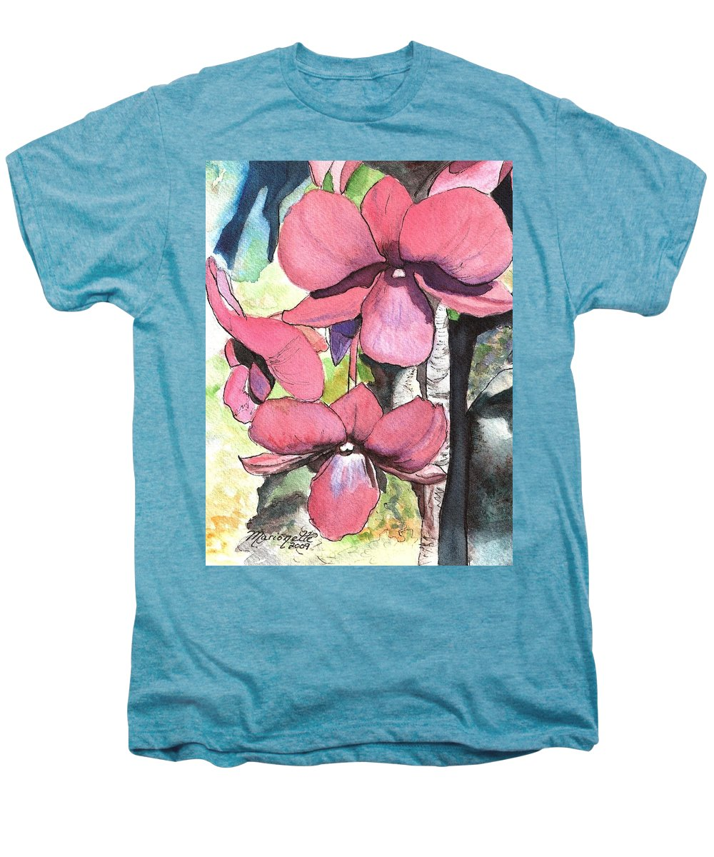 Orchid Men's Premium T-Shirt featuring the painting Kiahuna Orchids by Marionette Taboniar