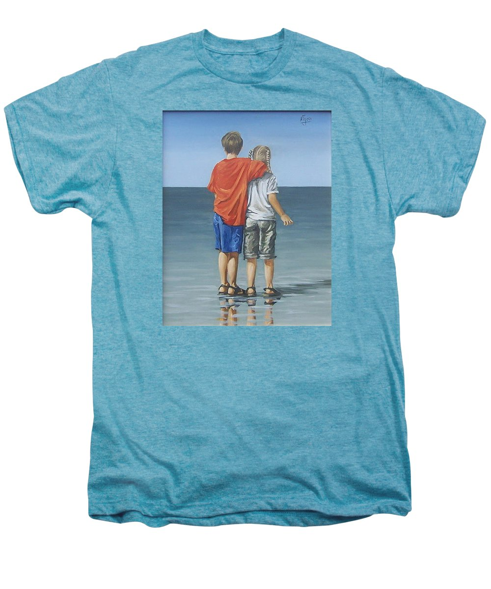 Kids Men's Premium T-Shirt featuring the painting Kids by Natalia Tejera