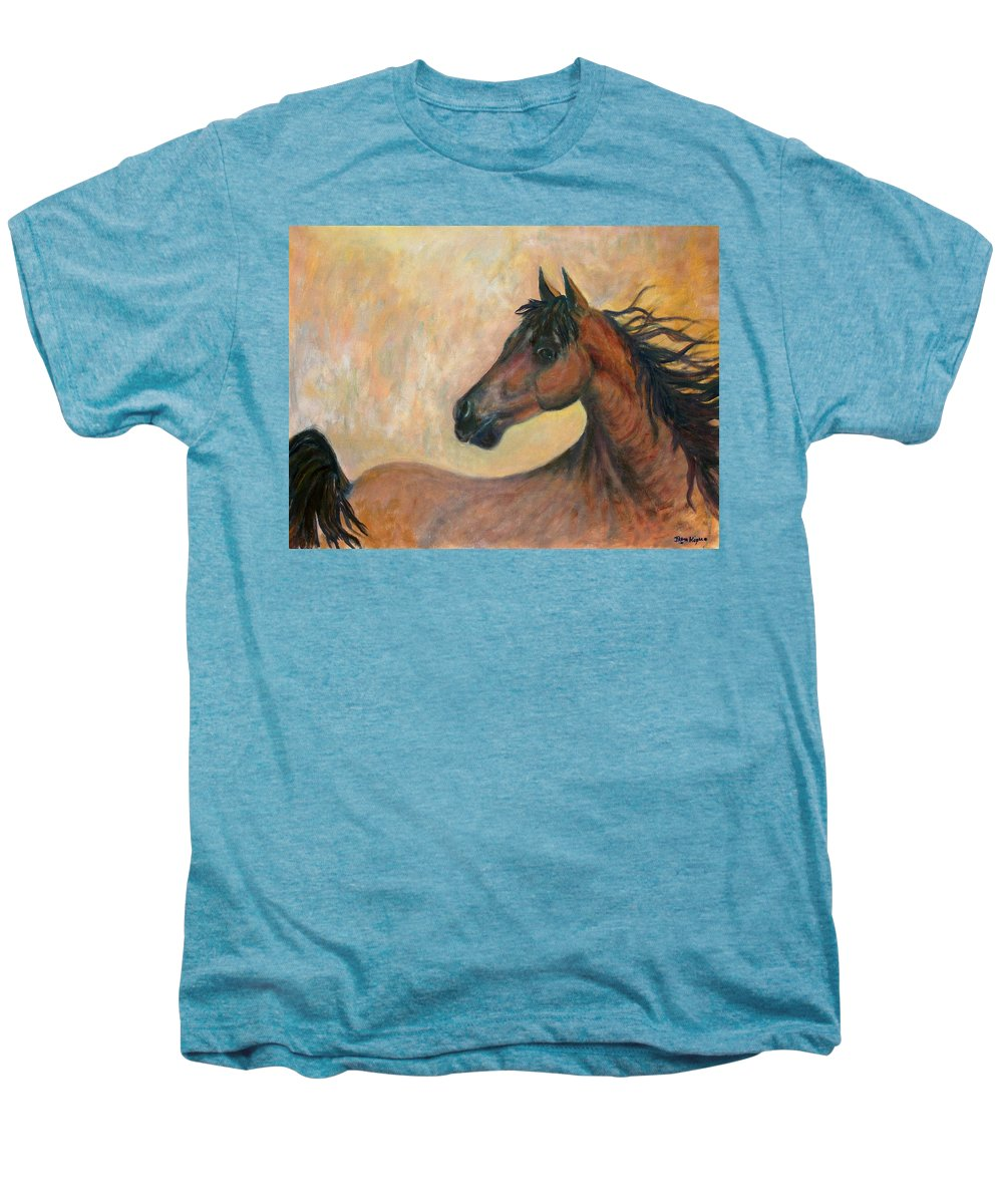 Horse Men's Premium T-Shirt featuring the painting Kiger Mustang by Ben Kiger