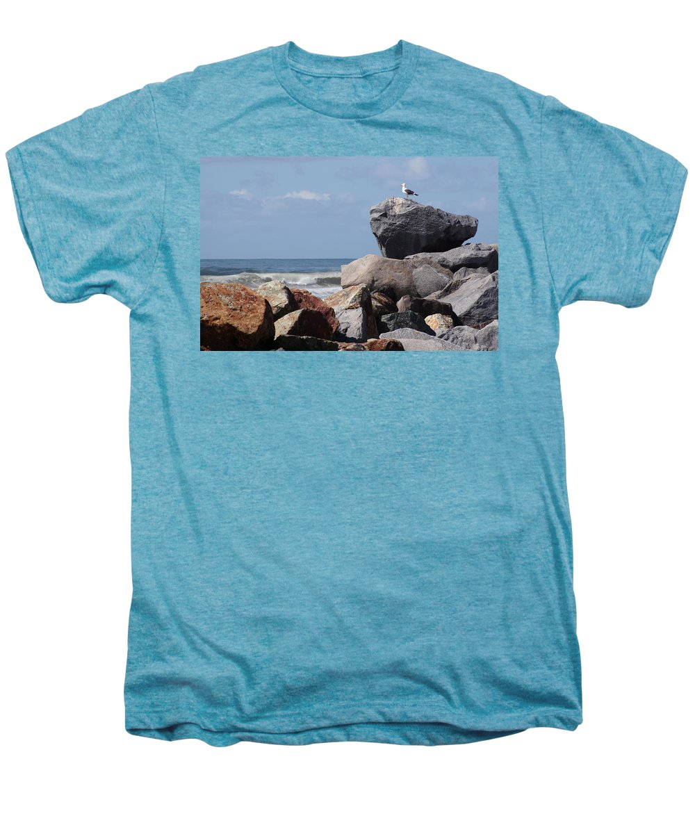 Beach Men's Premium T-Shirt featuring the photograph King Of The Rocks by Margie Wildblood