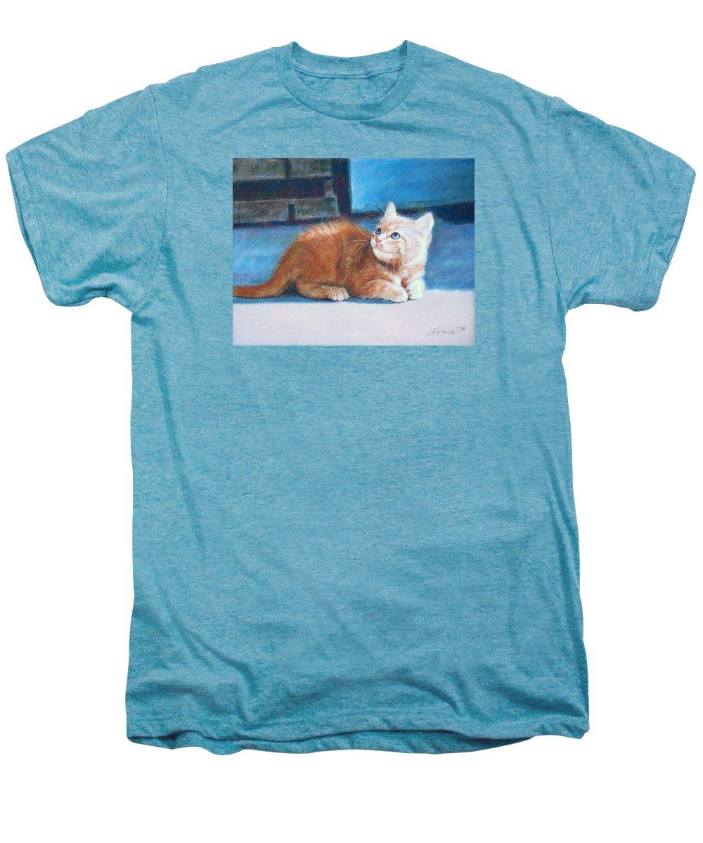 Cats Men's Premium T-Shirt featuring the pastel Kitten by Iliyan Bozhanov