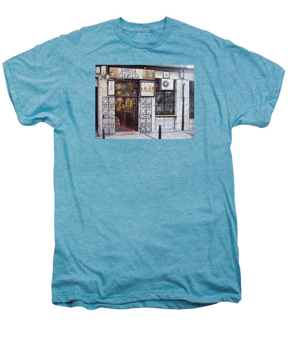 Bodega Men's Premium T-Shirt featuring the painting La Cigalena Old Restaurant by Tomas Castano