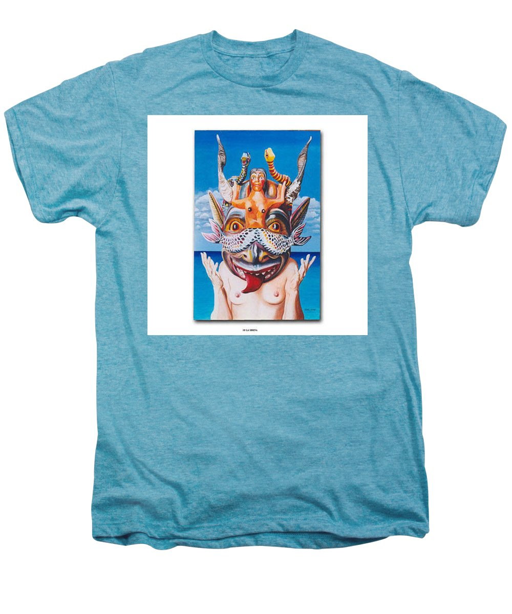 Hyperrealism Men's Premium T-Shirt featuring the painting La Sirena by Michael Earney
