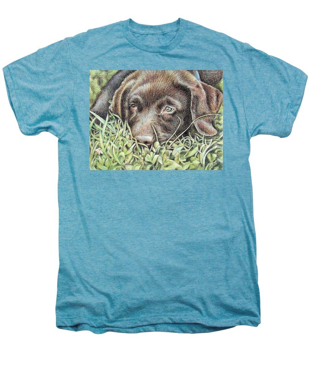 Dog Men's Premium T-Shirt featuring the pastel Labrador Puppy by Nicole Zeug