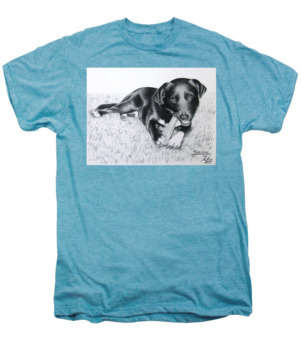 Dog Men's Premium T-Shirt featuring the drawing Labrador Samy by Nicole Zeug