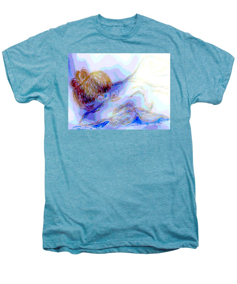 Lady Men's Premium T-Shirt featuring the digital art Lady Crying by Shelley Jones
