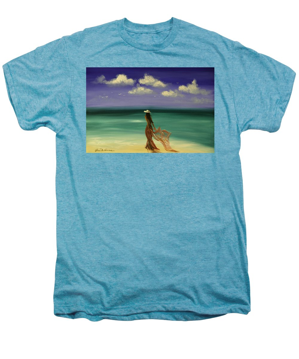 Nice Men's Premium T-Shirt featuring the painting Lady In Red by Gina De Gorna