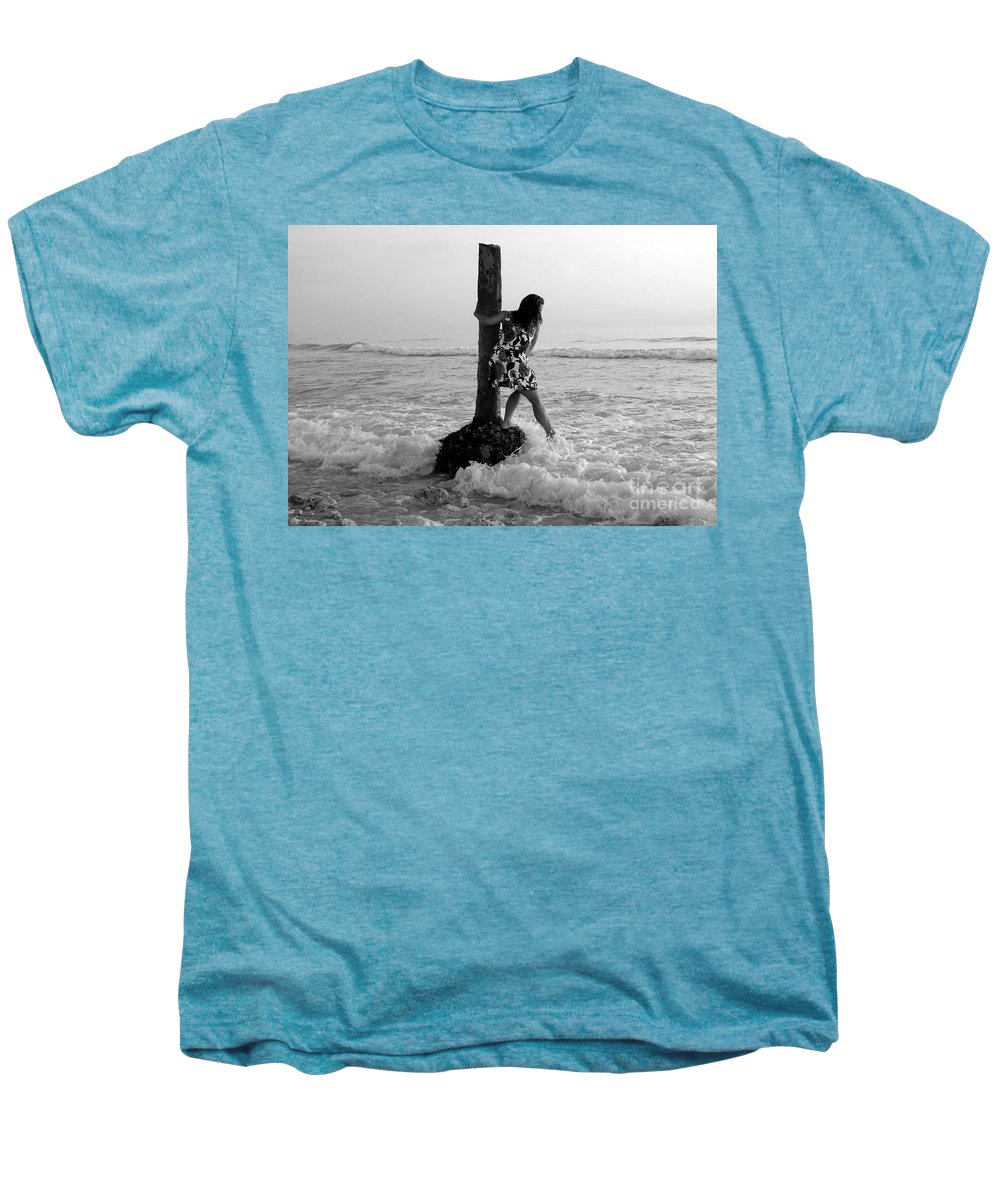 Beach Men's Premium T-Shirt featuring the photograph Lady In The Surf by David Lee Thompson