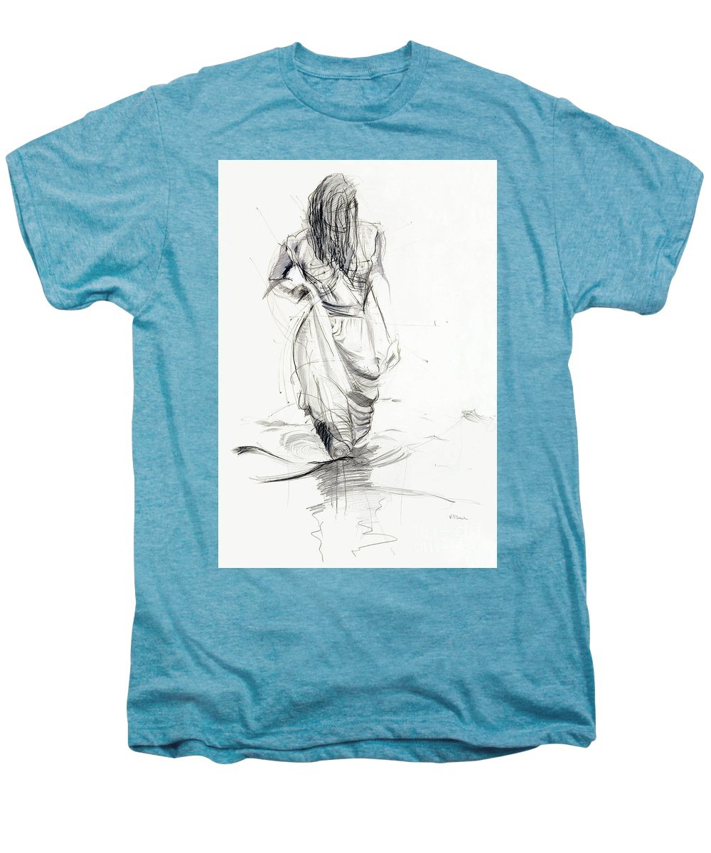 Woman Men's Premium T-Shirt featuring the drawing Lady In The Waters by Kerryn Madsen-Pietsch