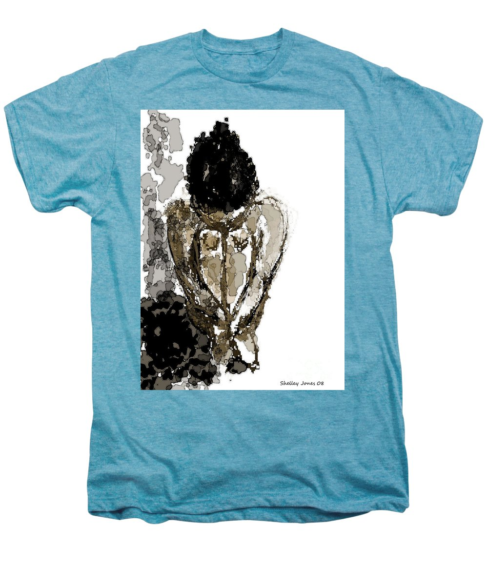 Lady Men's Premium T-Shirt featuring the digital art Lady Sitting by Shelley Jones