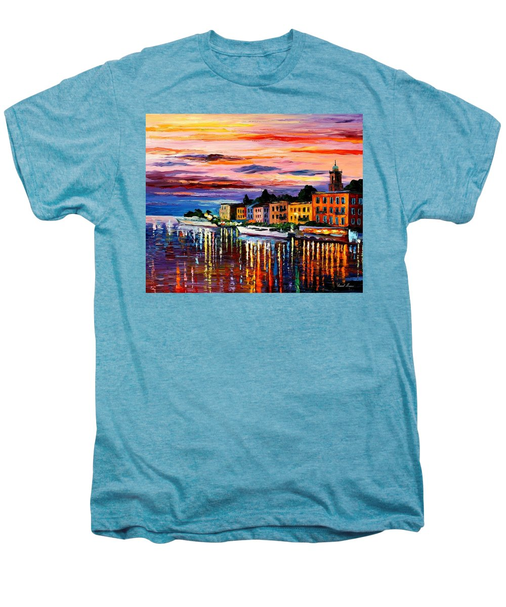 Cityscape Men's Premium T-Shirt featuring the painting Lake Como - Bellagio by Leonid Afremov