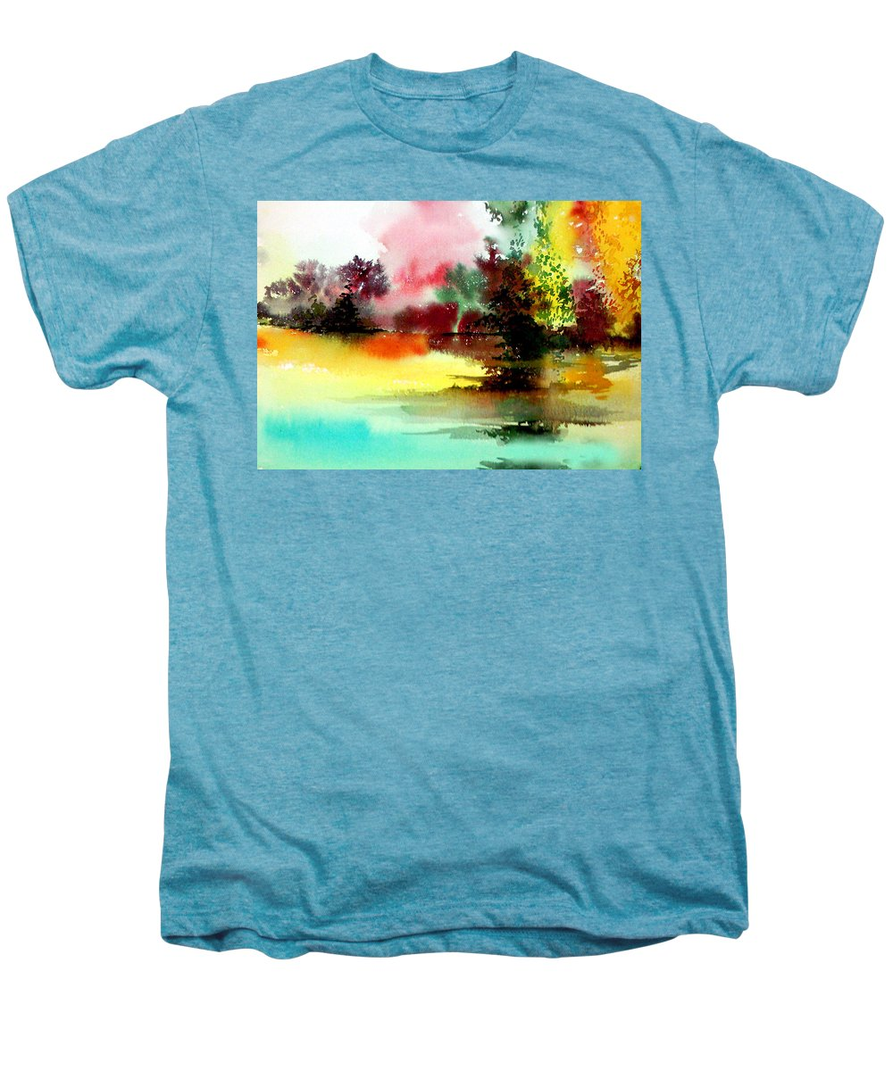 Nature Men's Premium T-Shirt featuring the painting Lake In Colours by Anil Nene