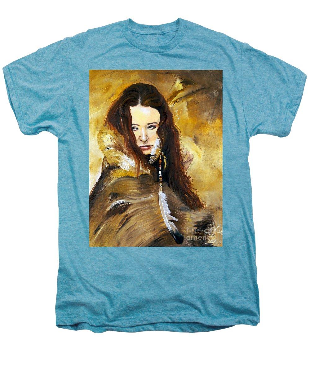 Southwest Art Men's Premium T-Shirt featuring the painting Lament by J W Baker