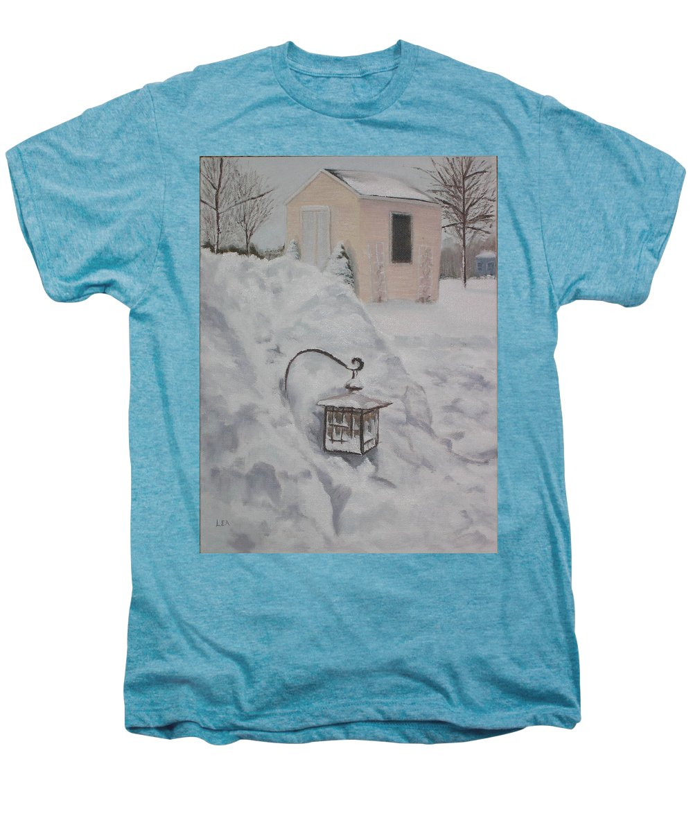 Snow Men's Premium T-Shirt featuring the painting Lantern In The Snow by Lea Novak