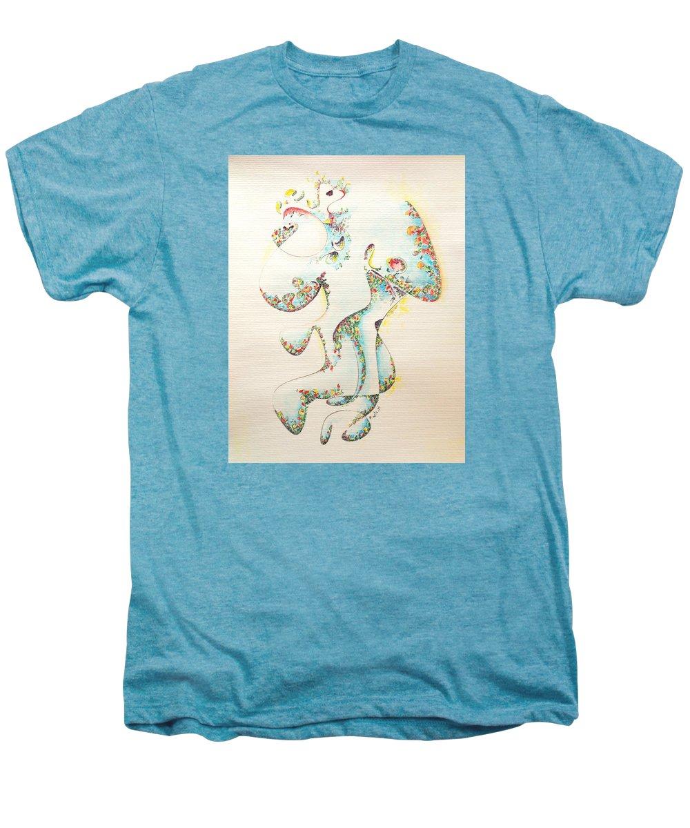 Fertility Men's Premium T-Shirt featuring the painting Lapis Lazuli Bejeweled Fertility Goddess by Dave Martsolf