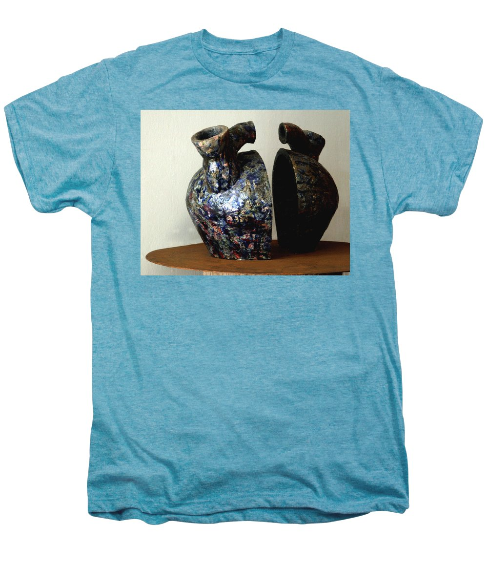 Ceramic Men's Premium T-Shirt featuring the sculpture Las Venas Abiertas De America Latina by Madalena Lobao-Tello