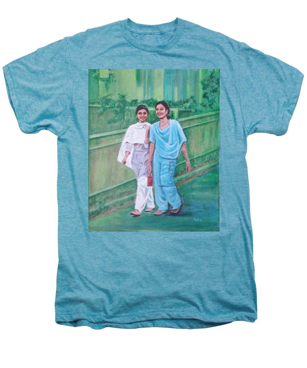 Men's Premium T-Shirt featuring the painting Laughing Girls by Usha Shantharam
