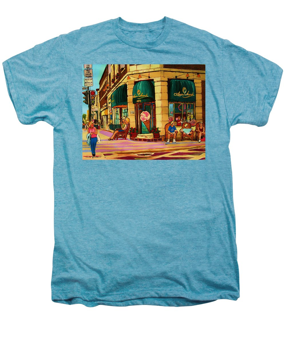 Montreal Streetscenes Men's Premium T-Shirt featuring the painting Laura Secord Candy And Cone Shop by Carole Spandau