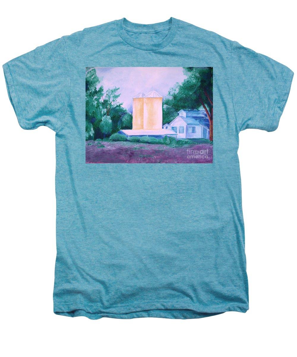Western Men's Premium T-Shirt featuring the painting Lavender Farm Albuquerque by Eric Schiabor