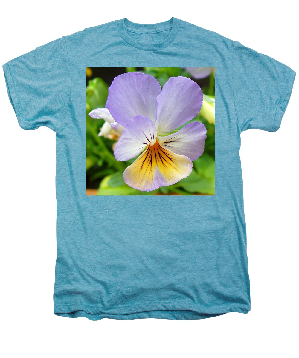 Pansy Men's Premium T-Shirt featuring the photograph Lavender Pansy by Nancy Mueller