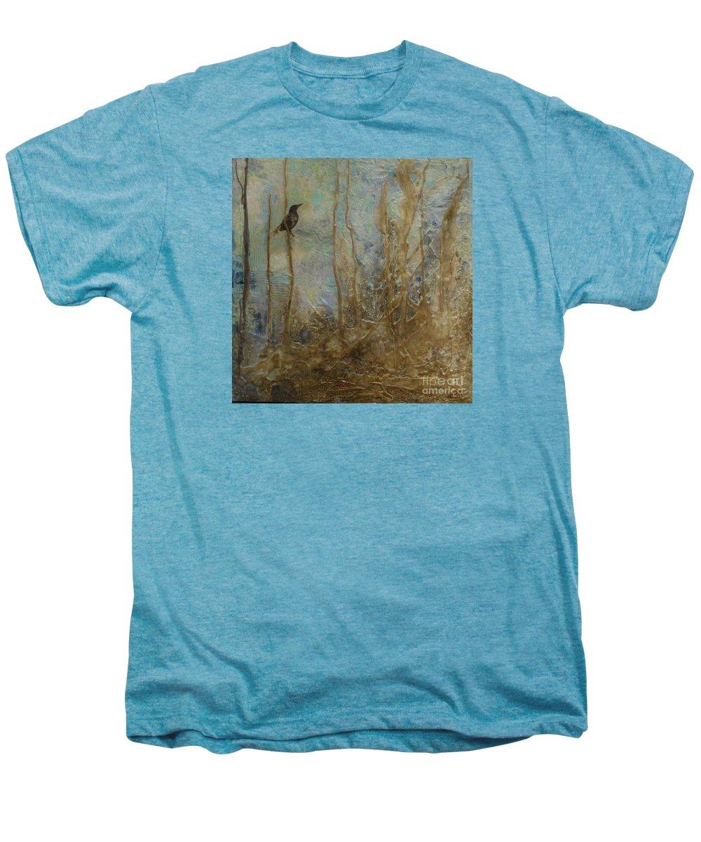 Bird Men's Premium T-Shirt featuring the painting Lawbird by Heather Hennick