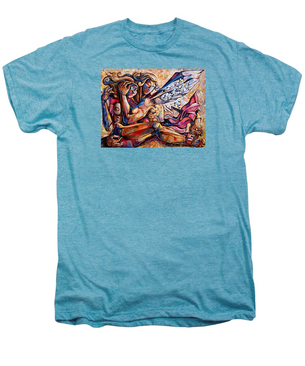 Surrealism Men's Premium T-Shirt featuring the painting Lean On Me by Darwin Leon