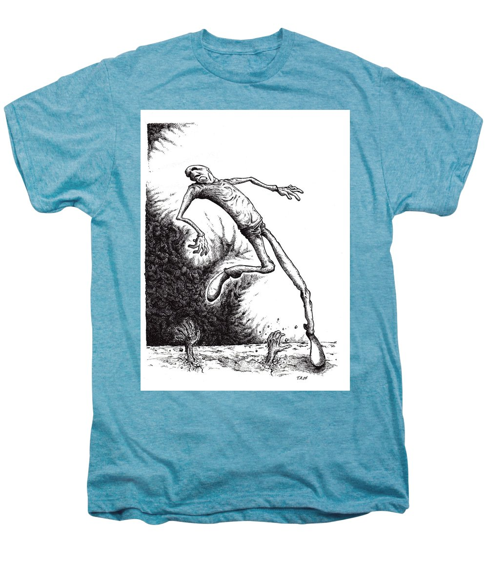Black And White Men's Premium T-Shirt featuring the drawing Leap by Tobey Anderson