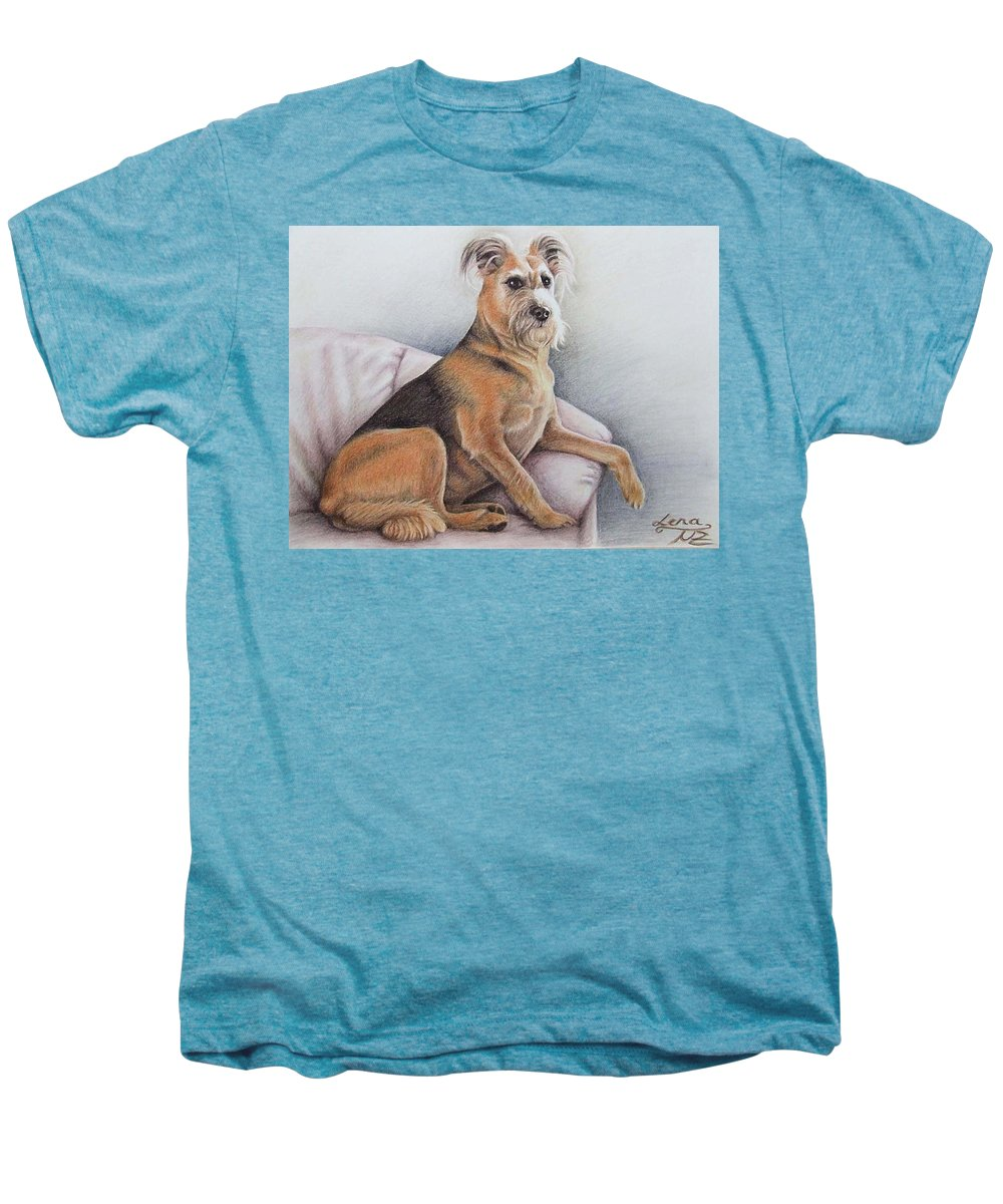 Dog Men's Premium T-Shirt featuring the pastel Lena by Nicole Zeug