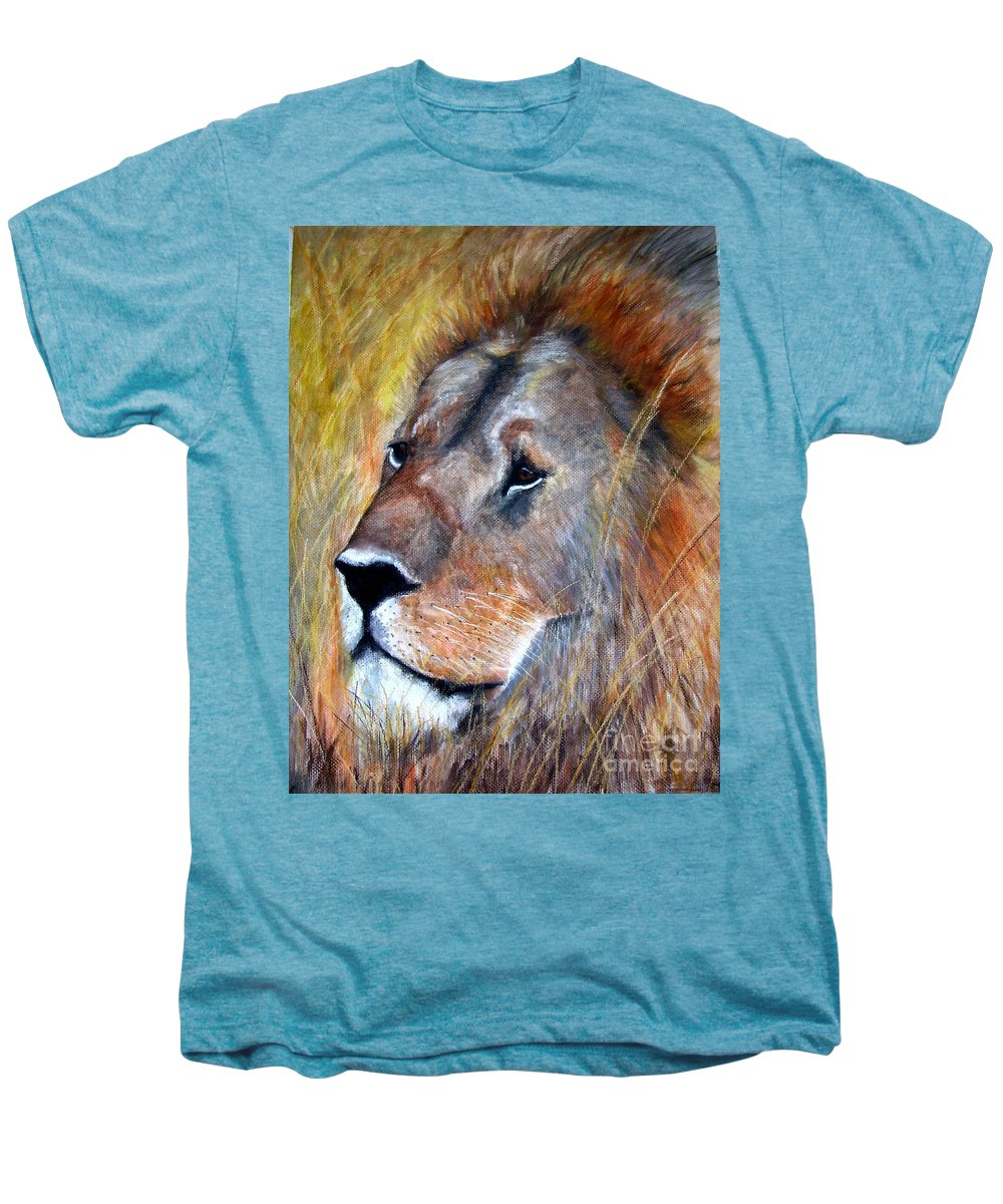 Lion Men's Premium T-Shirt featuring the painting leo by Frances Marino