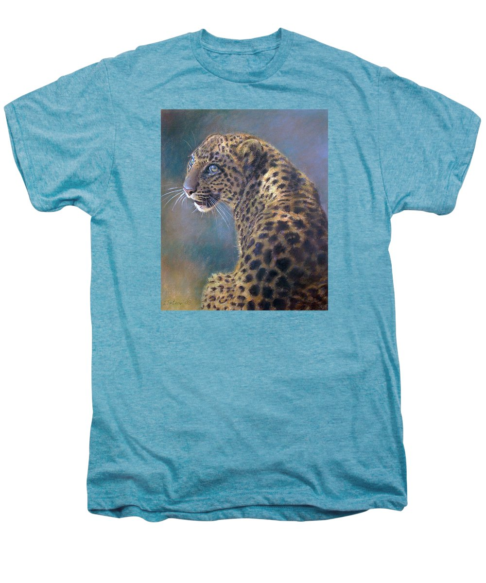 Cats Men's Premium T-Shirt featuring the pastel Leopard by Iliyan Bozhanov