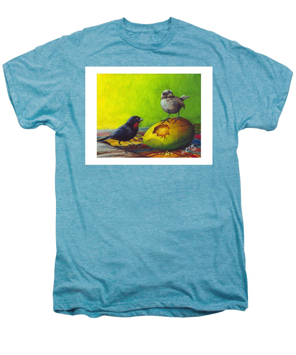 Chris Cox Men's Premium T-Shirt featuring the painting Lesser Antillean Bullfinches And Mango by Christopher Cox