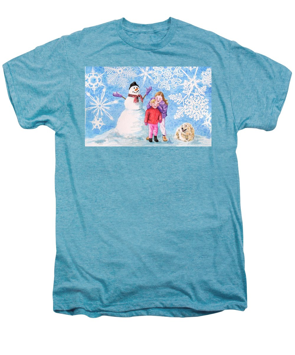 Snowman Men's Premium T-Shirt featuring the painting Let It Snow by Gale Cochran-Smith