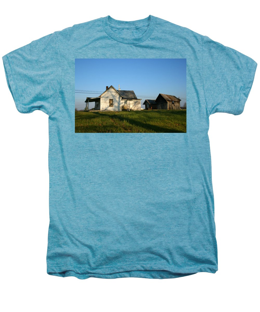 Old House Barn Life Past Age Forgotten Forget Time Left Leave Blue Green White Kentucky Ky Country Men's Premium T-Shirt featuring the photograph Life Behind by Andrei Shliakhau