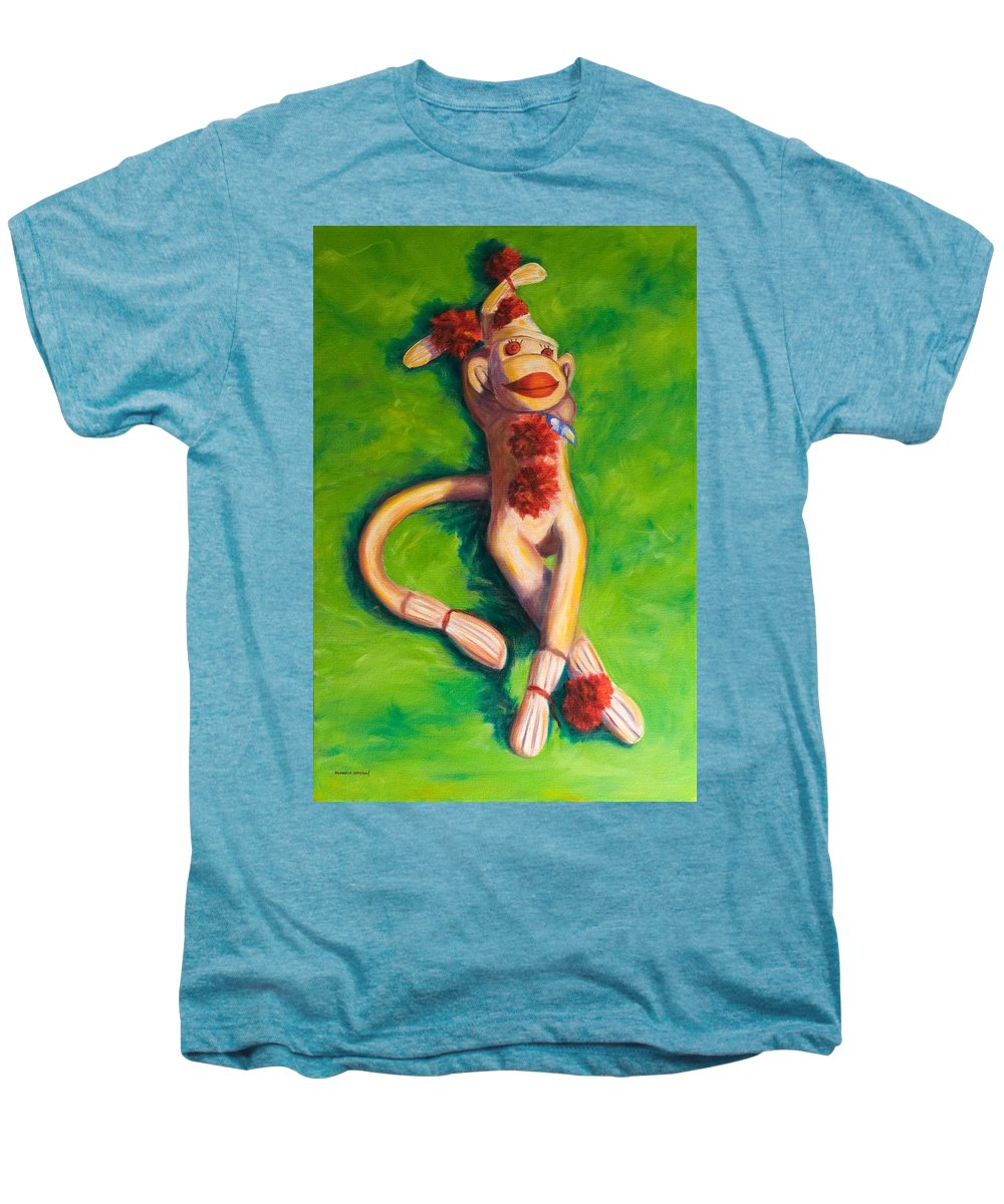 Sock Monkey Men's Premium T-Shirt featuring the painting Life Is Good by Shannon Grissom