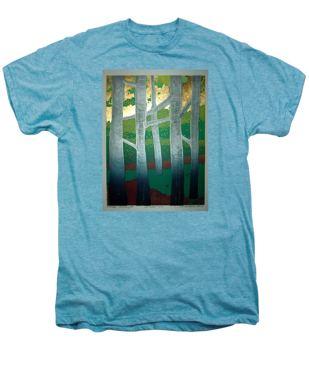 Landscape Men's Premium T-Shirt featuring the mixed media Light Between The Trees by Jarle Rosseland