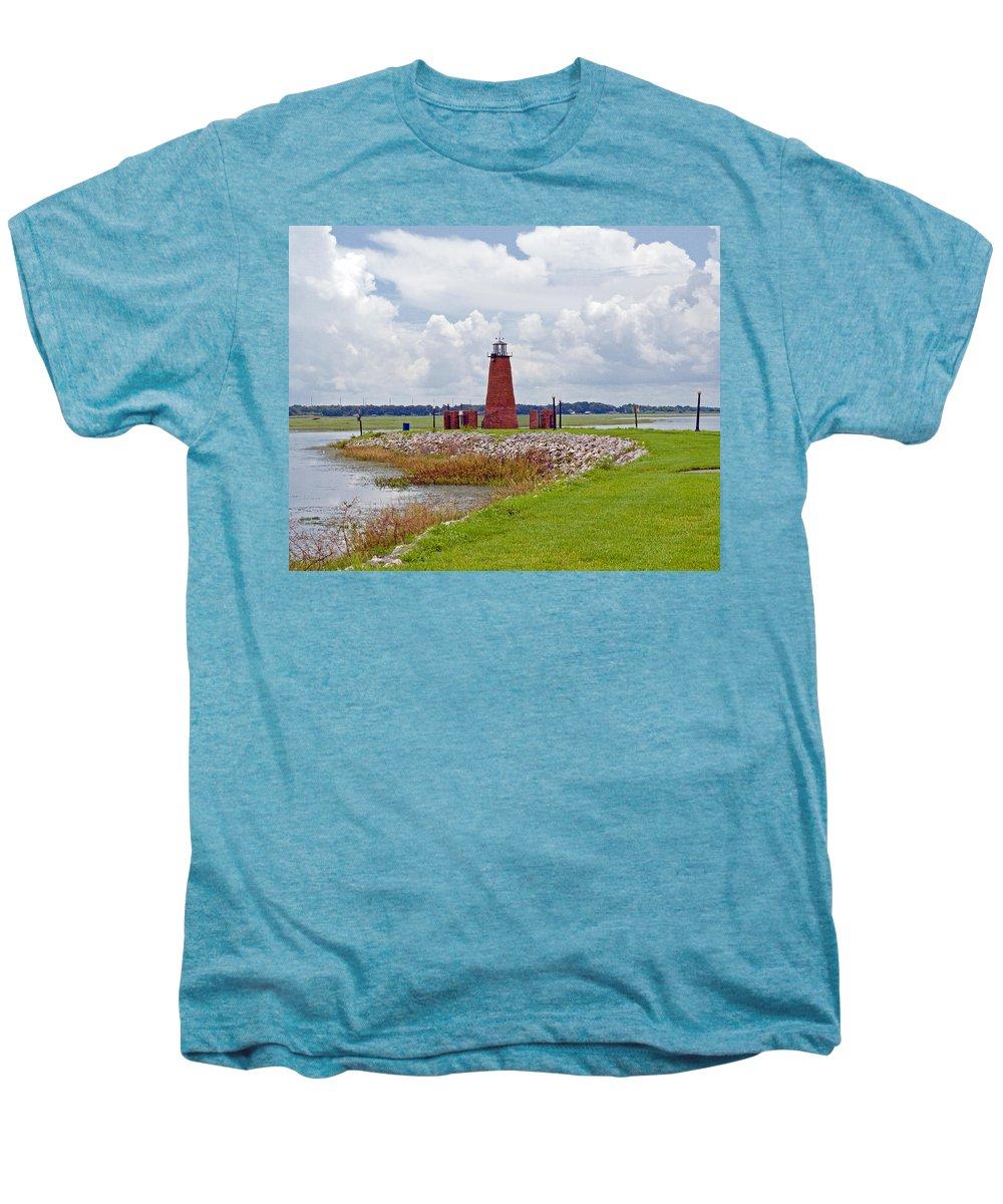 Florida; Kissimmee; Toho; Tohopekaliga; Port; Light; Lighthouse; House; Beacon; Brick; Central; Harb Men's Premium T-Shirt featuring the photograph Lighthouse At Port Kissimmee On Lake Tohopekaliga In Central Florida  by Allan Hughes