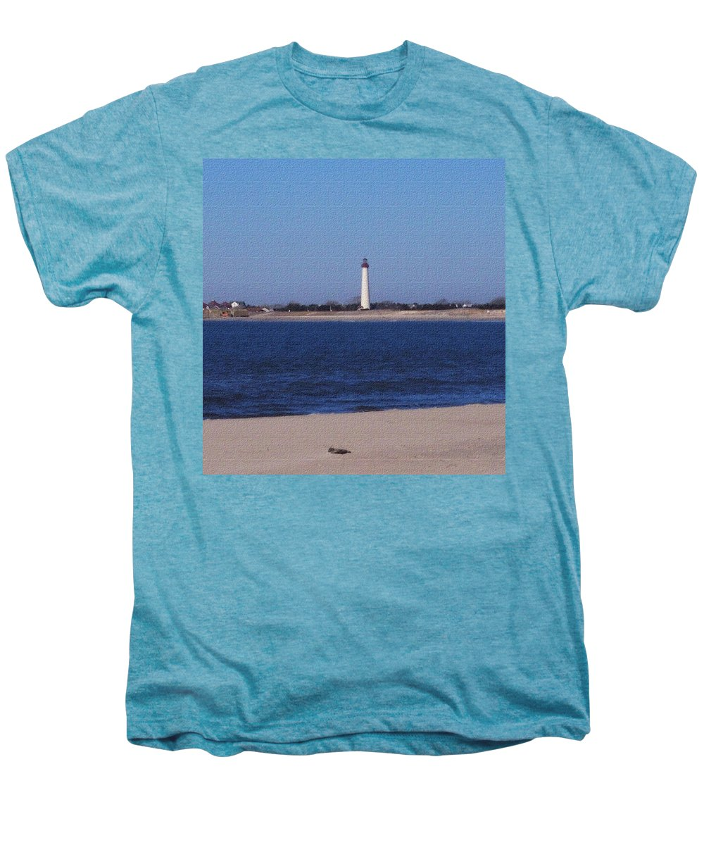 Lighthouse Men's Premium T-Shirt featuring the photograph Lighthouse At The Point by Pharris Art