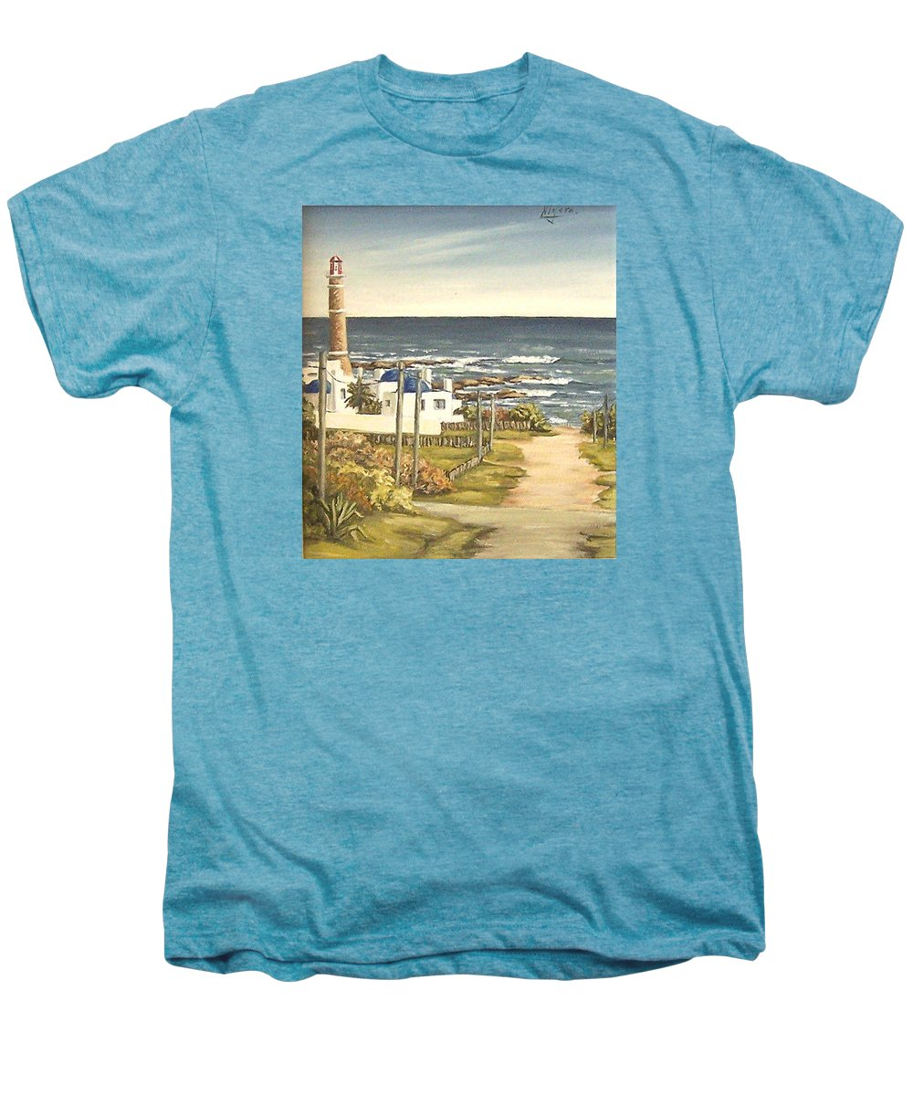 Lighthouse Seascape Sea Water Uruguay Men's Premium T-Shirt featuring the painting Lighthouse Uruguay by Natalia Tejera