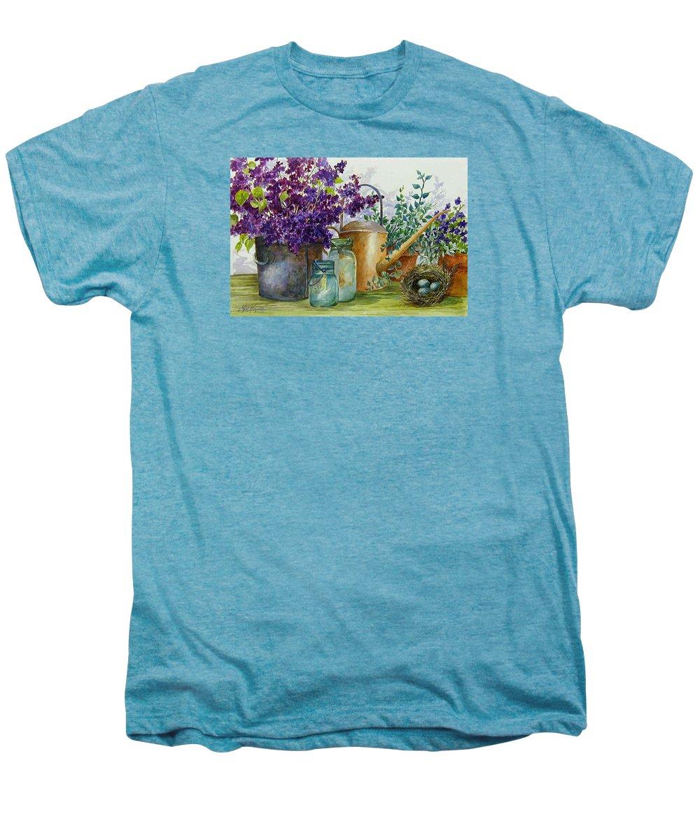 Still Life;lilacs; Ball Jars; Watering Can;bird Nest; Bird Eggs; Men's Premium T-Shirt featuring the painting Lilacs And Ball Jars by Lois Mountz