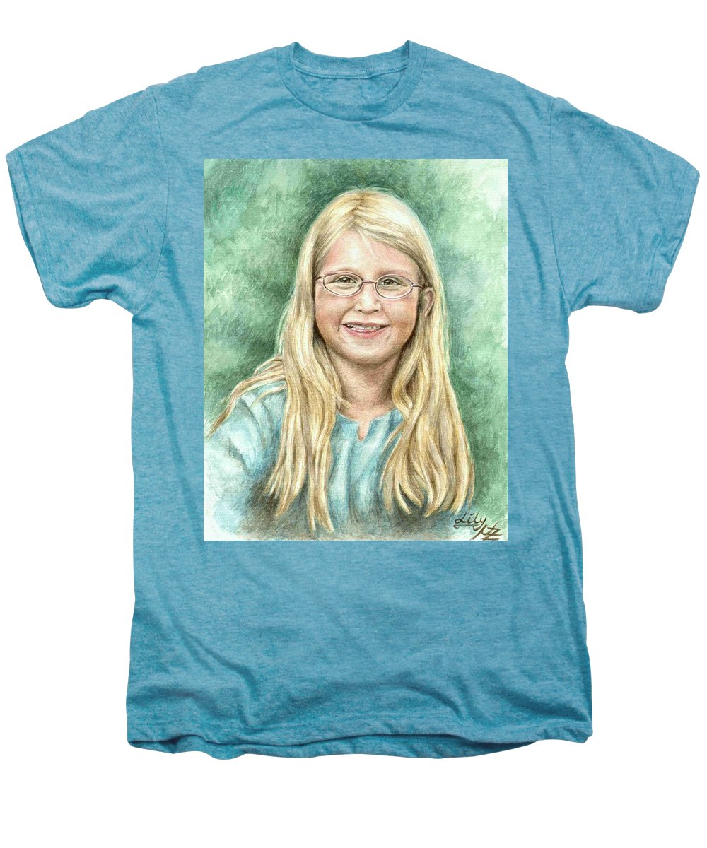 Girl Men's Premium T-Shirt featuring the painting Lily by Nicole Zeug