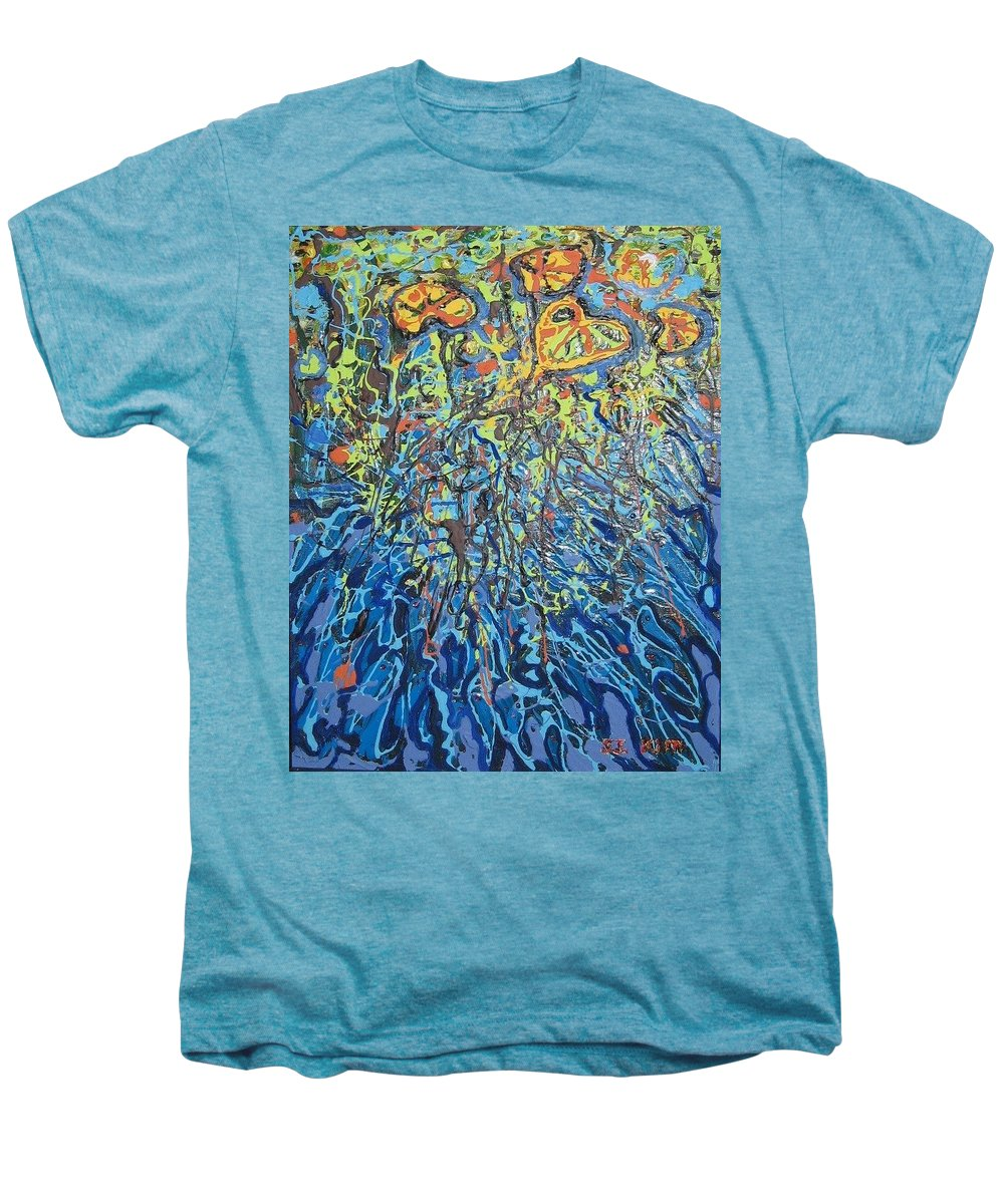 Lily Pads Paintings Men's Premium T-Shirt featuring the painting Lily Pads Water Lily Paintings by Seon-Jeong Kim