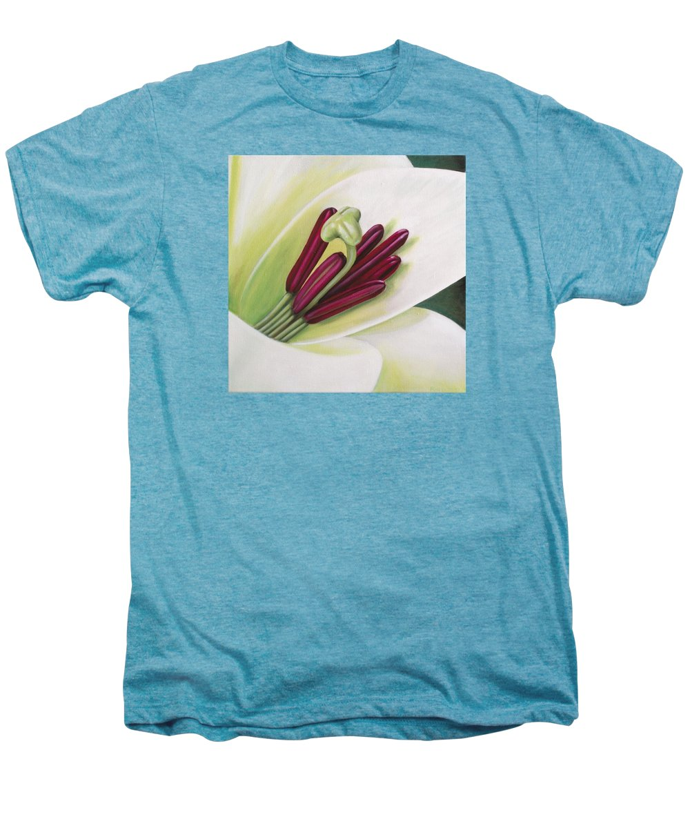 Flower Men's Premium T-Shirt featuring the painting Lily by Rob De Vries