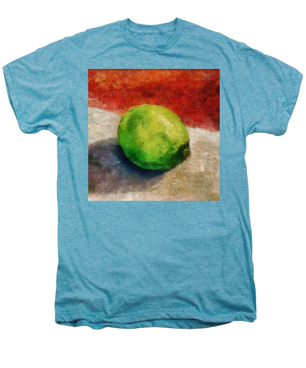 Lime Men's Premium T-Shirt featuring the painting Lime Still Life by Michelle Calkins