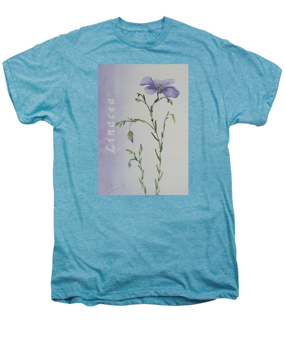 Flower Men's Premium T-Shirt featuring the painting Linacea by Ruth Kamenev