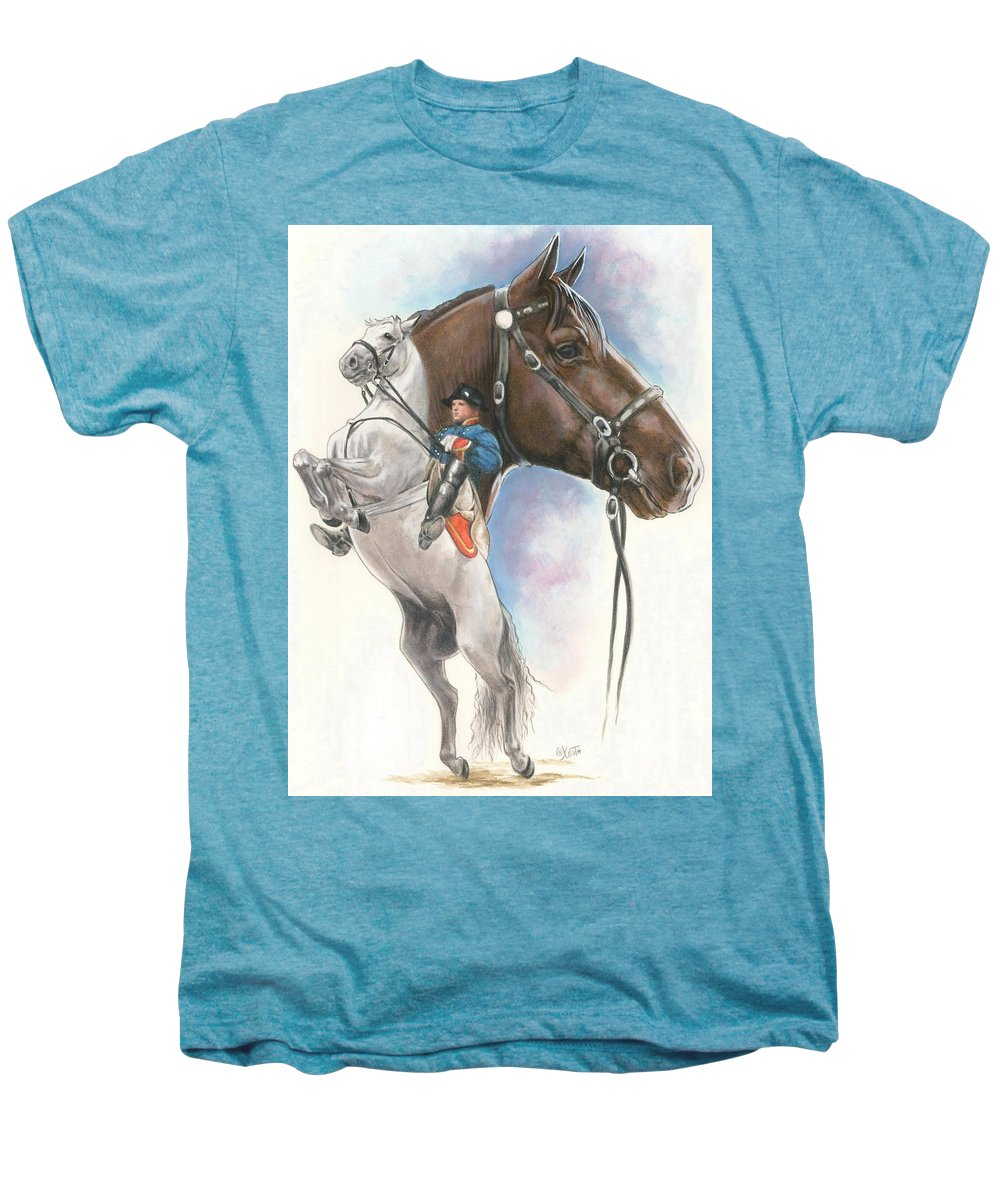 Equus Men's Premium T-Shirt featuring the mixed media Lippizaner by Barbara Keith