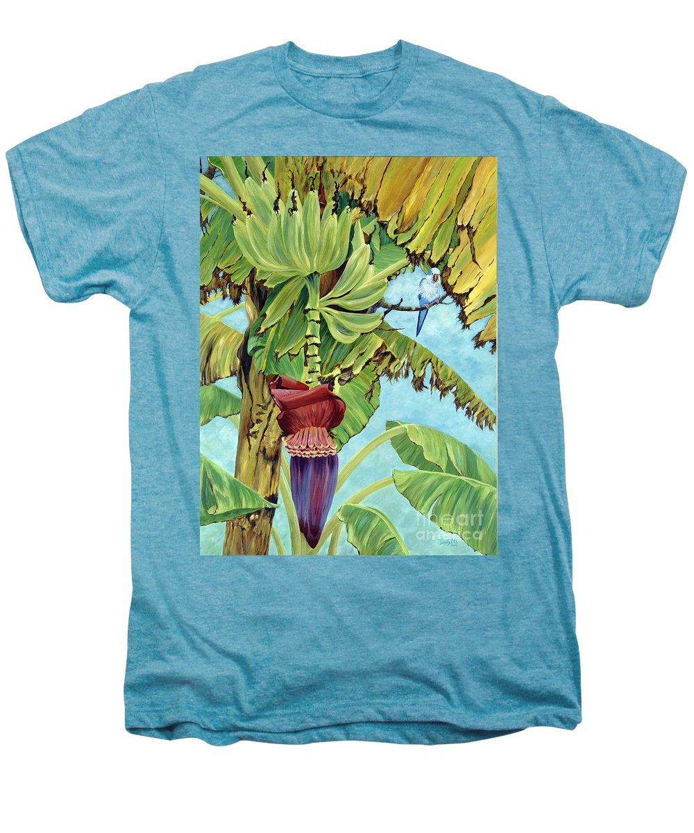 Tropical Men's Premium T-Shirt featuring the painting Little Blue Quaker by Danielle Perry