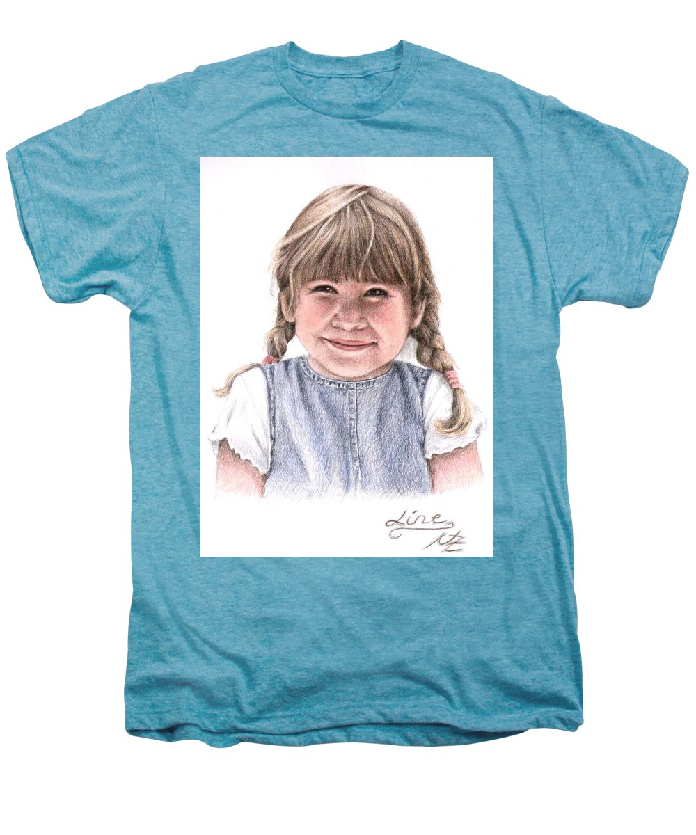 Girl Men's Premium T-Shirt featuring the drawing Little Girl by Nicole Zeug