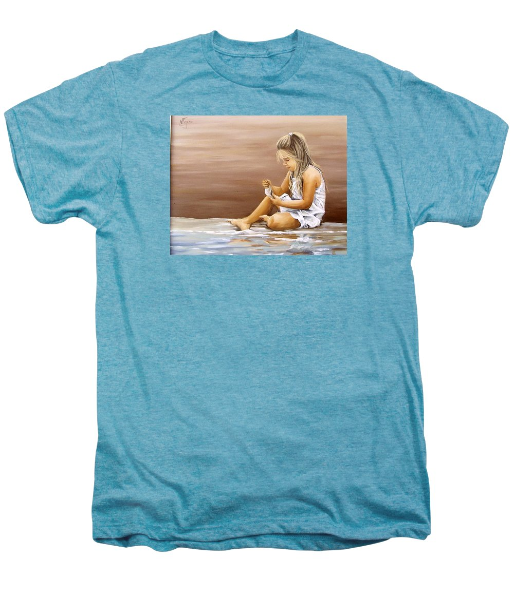 Children Girl Sea Shell Seascape Water Portrait Figurative Men's Premium T-Shirt featuring the painting Little Girl With Sea Shell by Natalia Tejera